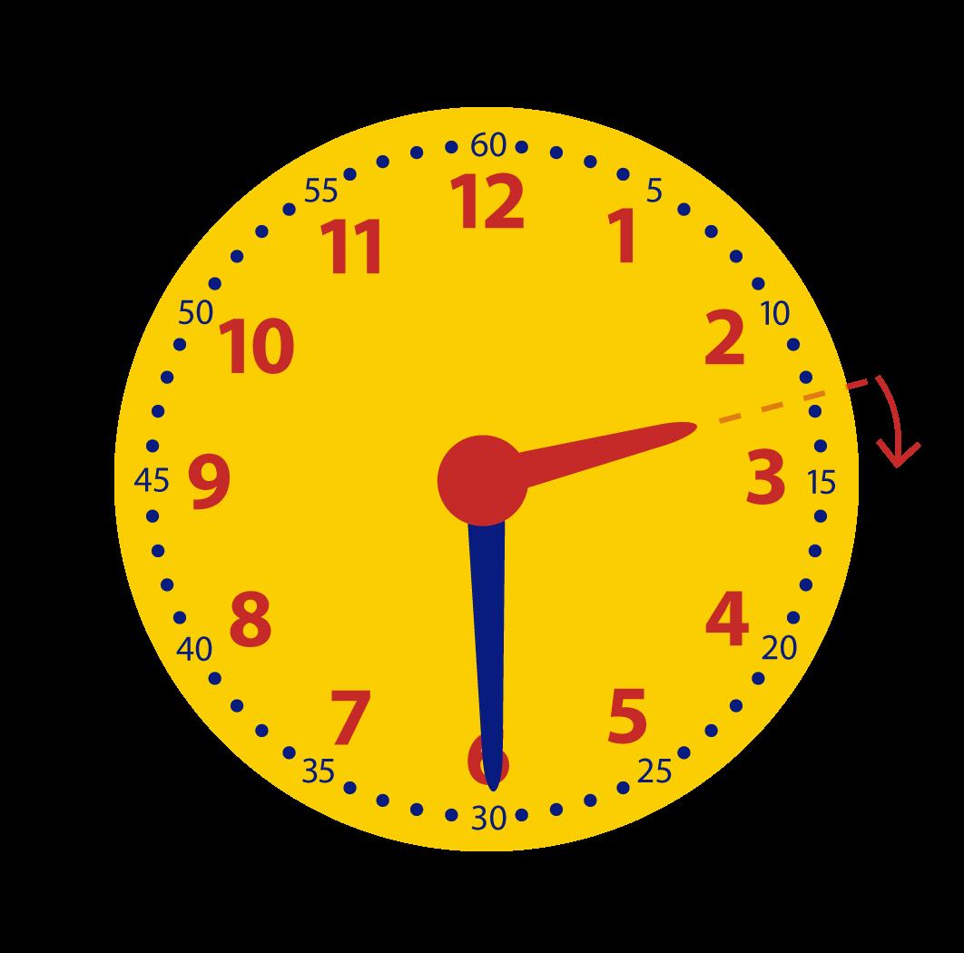 Halve uren op de klok, leren klokkijken