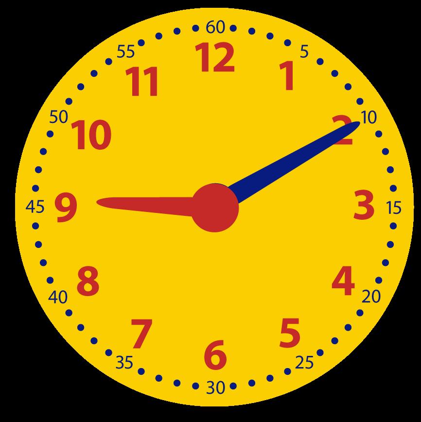 10 over het hele uur. Oefenen met de minuten op de analoge klok. Over, voor half, over half en voor heel.