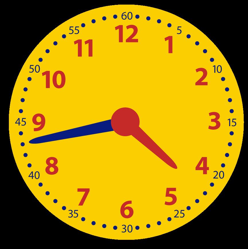 Minuten over half aflezen op de analoge klok. Leren klokkijken. Over, voor half, over half en voor het hele uur.