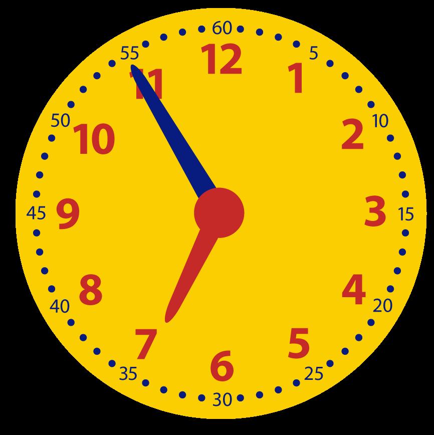 5 minuten voor het hele uur. Leren klokkijken. Over, voor half, over half en voor heel.