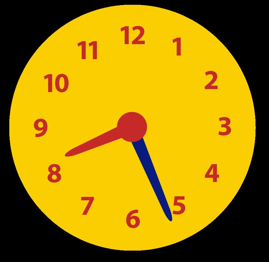 Online oefenen met het klokkijken. Minuten voor half aflezen op de klok.