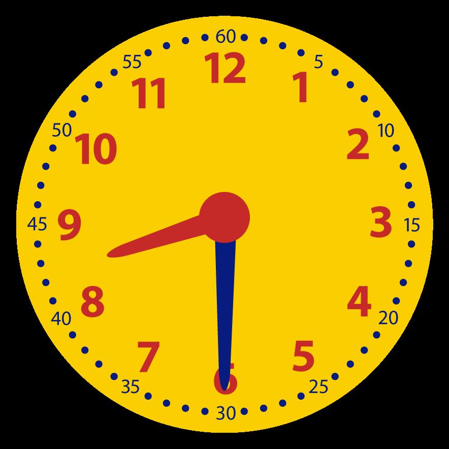 Halve uren op de digitale en analoge klok. Welke klokken horen bij elkaar?