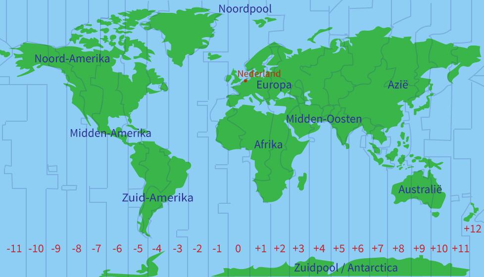 Tijdzones, meridianen, bovenbouw, rekenen oefenen