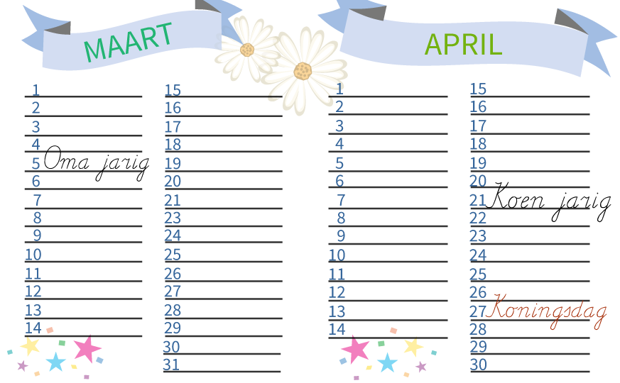 rekenen, kalender, verjaardagskalender