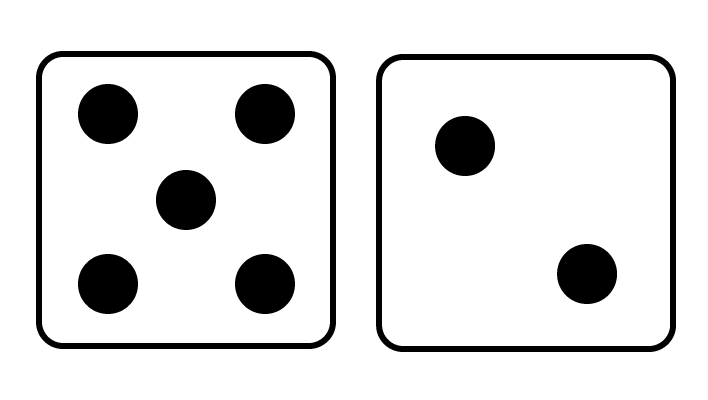 rekenen met de dobbelsteen, 7 op de dobbelsteen, 5 en 2