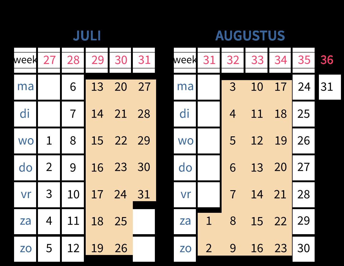 Een jaarkalender, zomervakantie, weken in een jaar