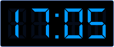 5 over heel uur op de digitale klok. Hoe laat is het een half uur later?