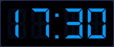Halve uren aflezen op de digitale klok. Online leren klokkijken.