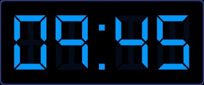 Kwart voor het hele uur op de digitale klok.