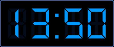 10 minuten voor het hele uur op de digitale klok.