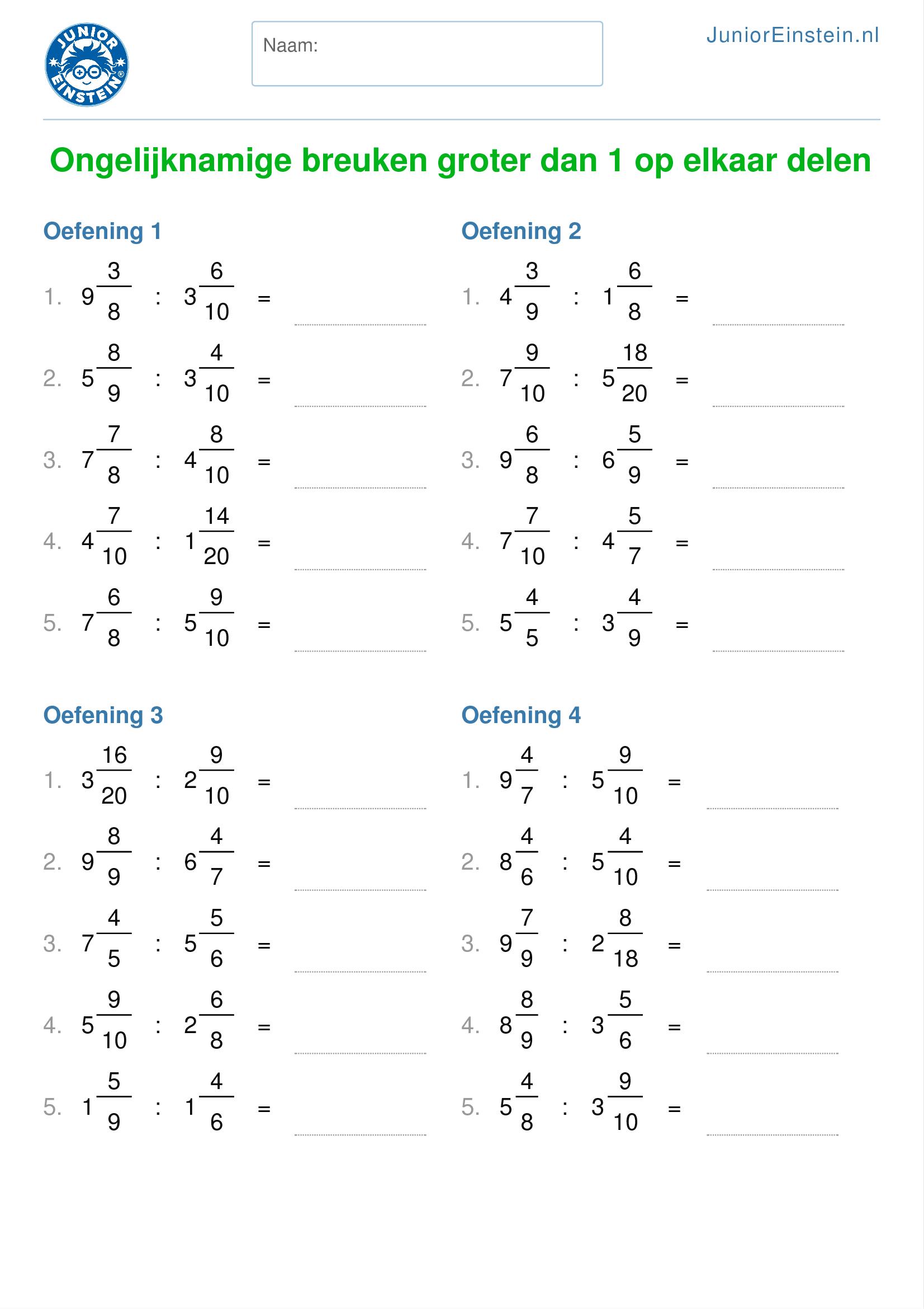 werkblad ongelijknamige breuken groter dan 1 op elkaar