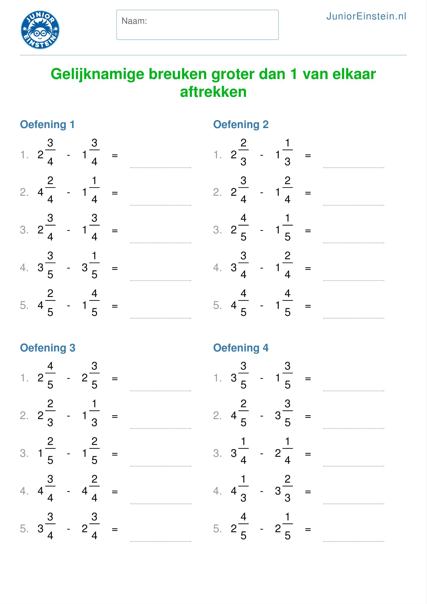 Favoriete Werkblad: Gelijknamige breuken groter dan 1 van elkaar aftrekken  &EH71