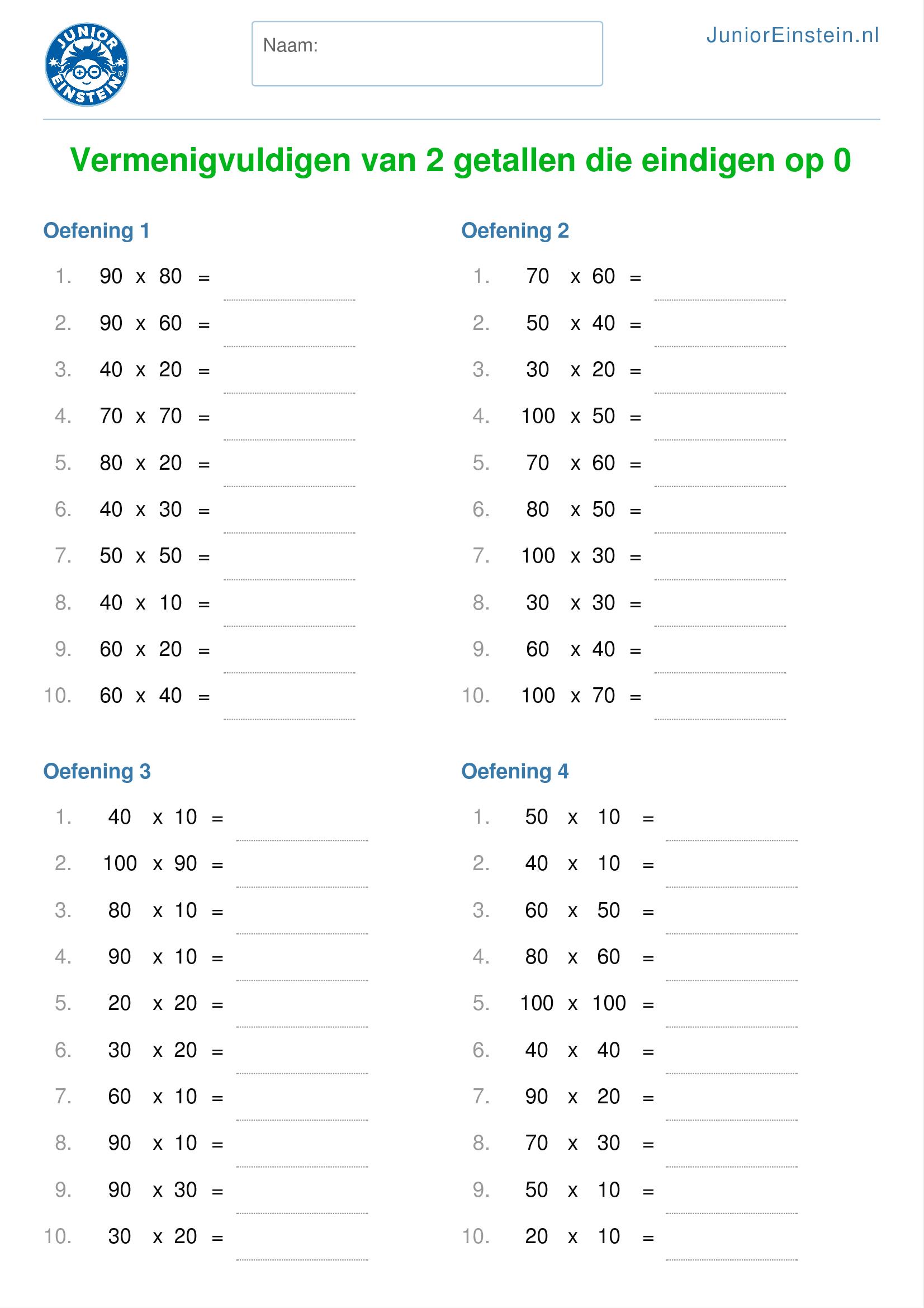 Werkblad vermenigvuldigen van 2 getallen die eindigen op 0 geschikt voor groep 5 - Werkblad eindigen ...