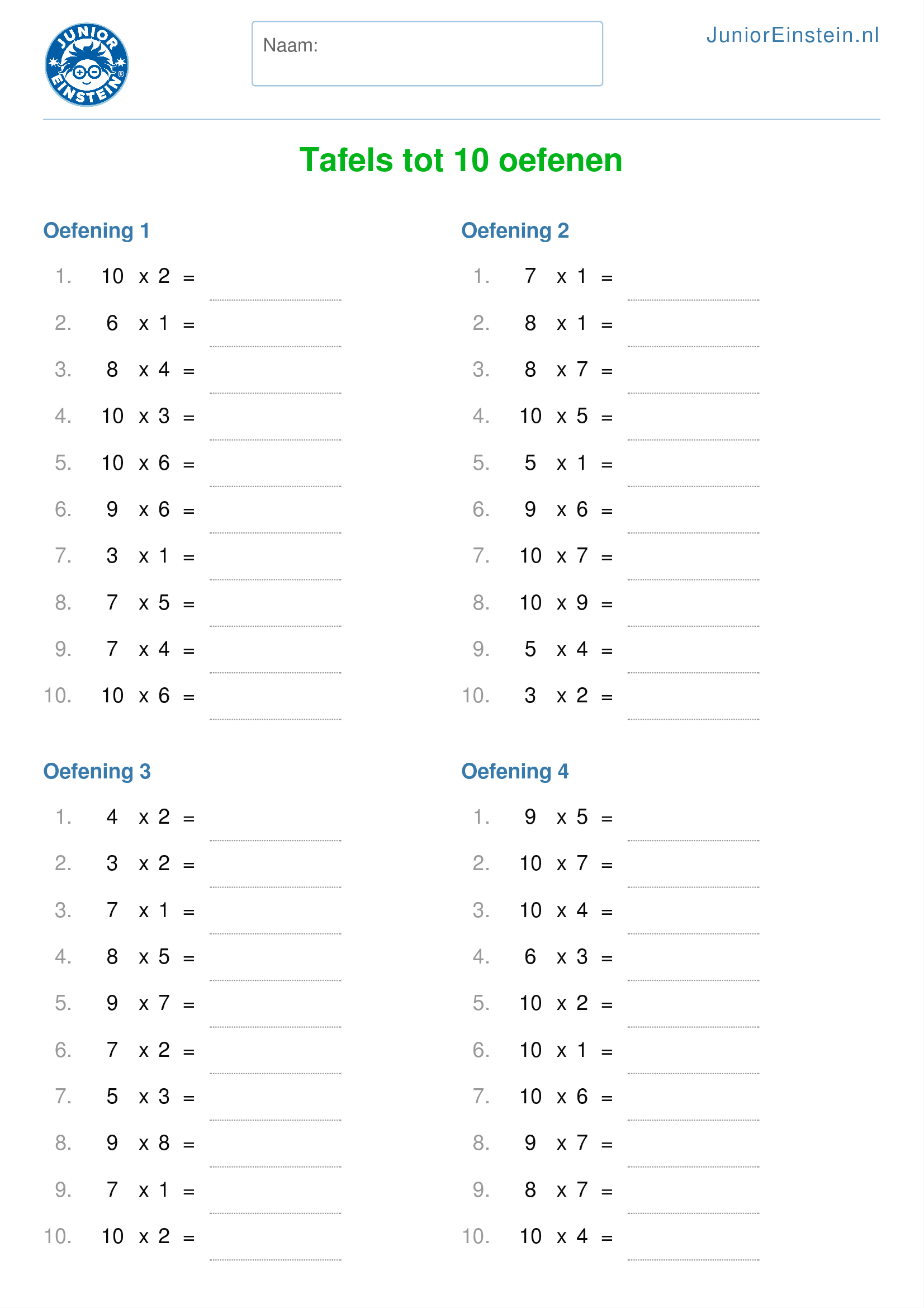 werkblad tafels tot 10 oefenen