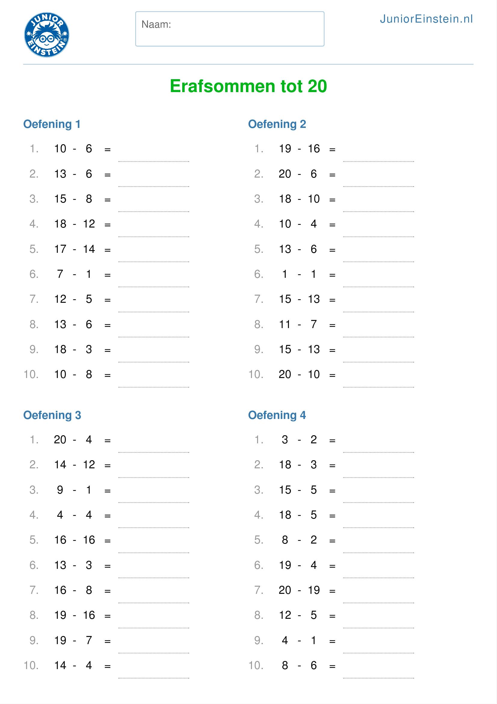 Verwonderlijk Werkblad: Erafsommen tot 20 (geschikt voor groep 3) PK-08