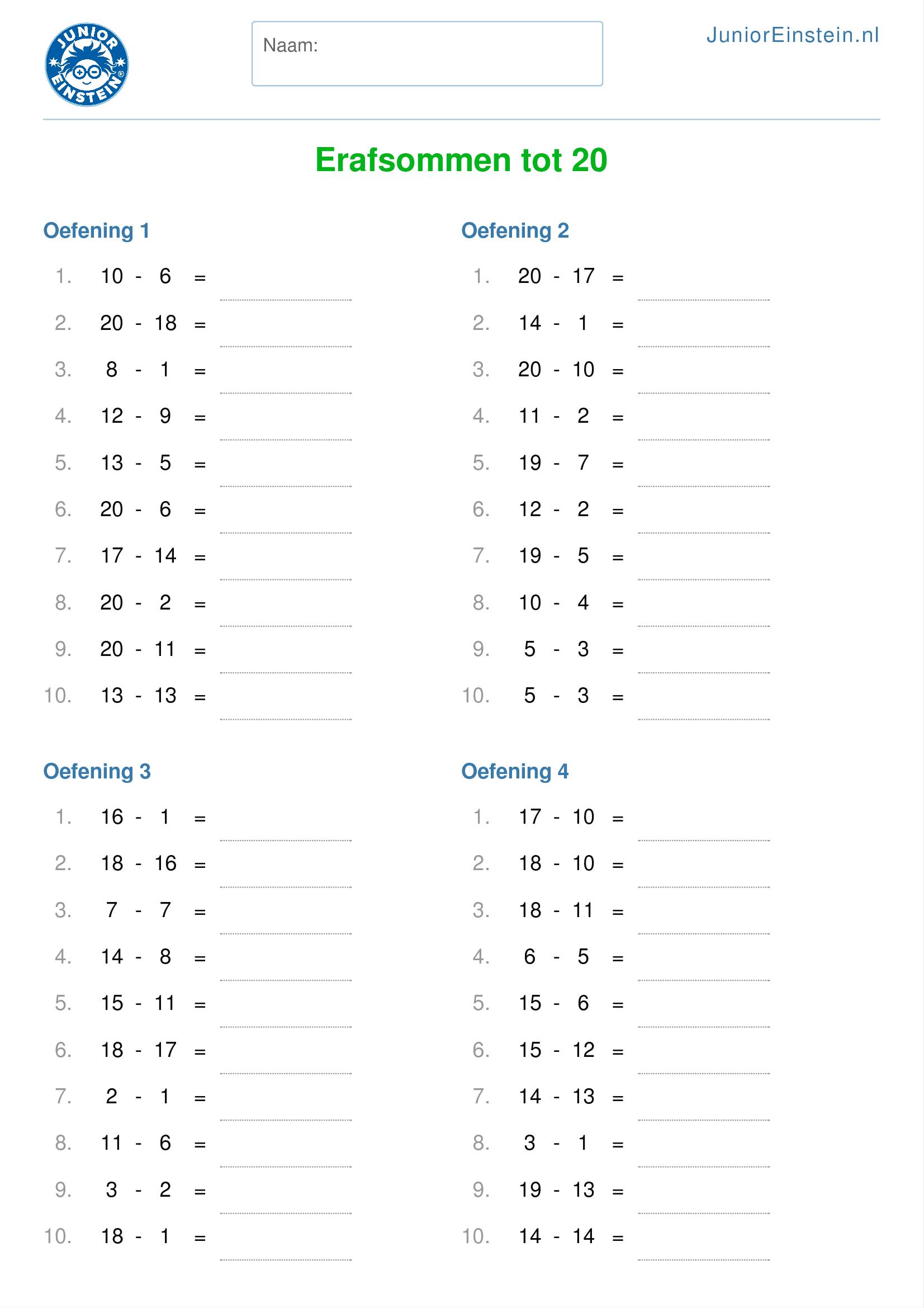 Super Werkblad: Erafsommen tot 20 (geschikt voor groep 4) FQ-63