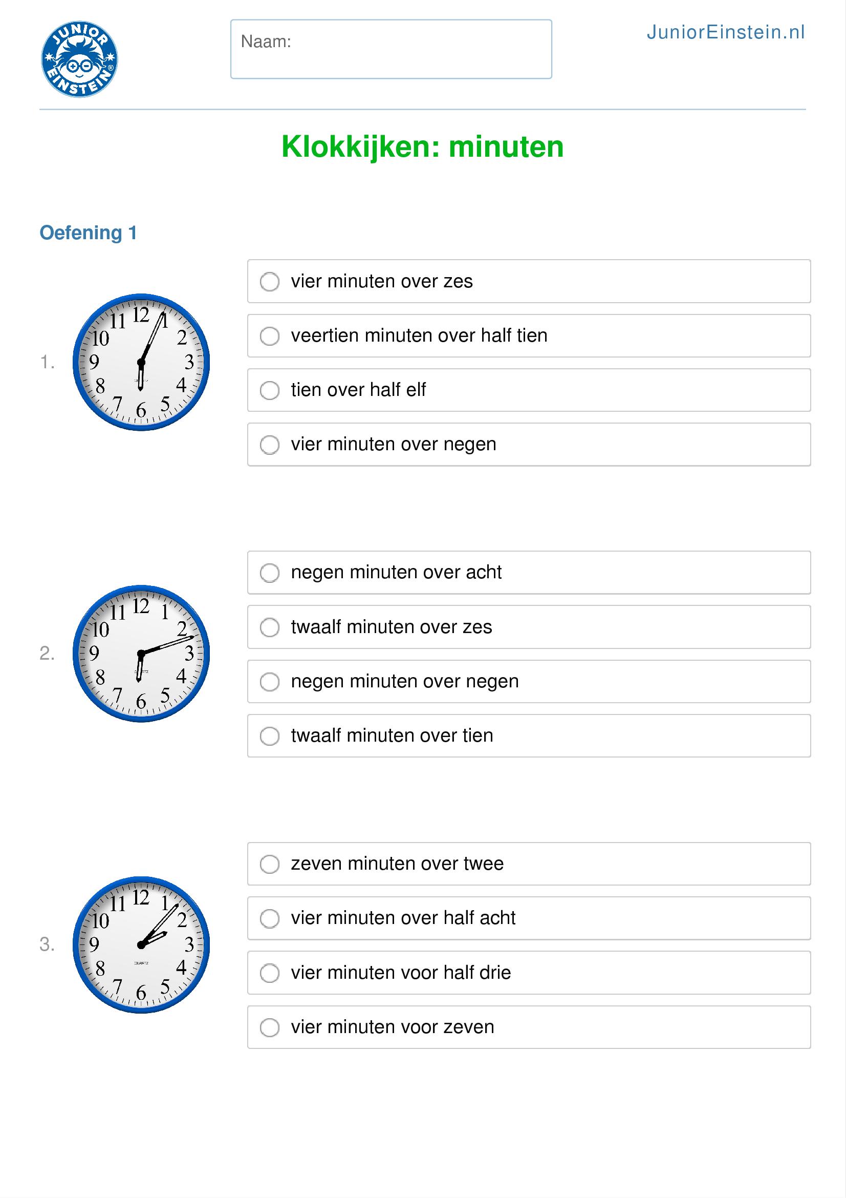 Super Werkblad: Klokkijken: minuten (geschikt voor groep 5) HF16