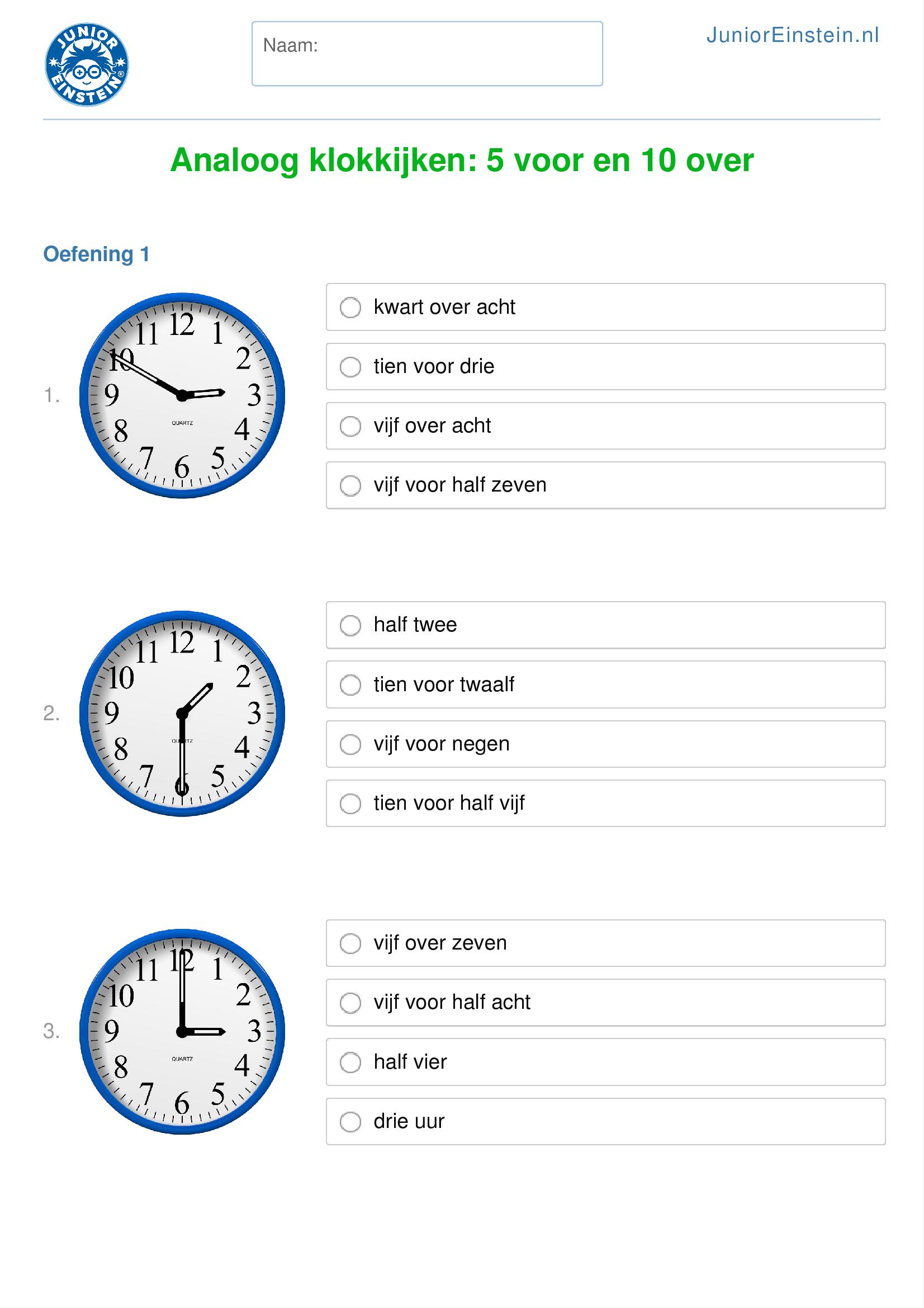 Extreem Werkblad: Analoog klokkijken: 5 voor en 10 over (geschikt voor  ZR98
