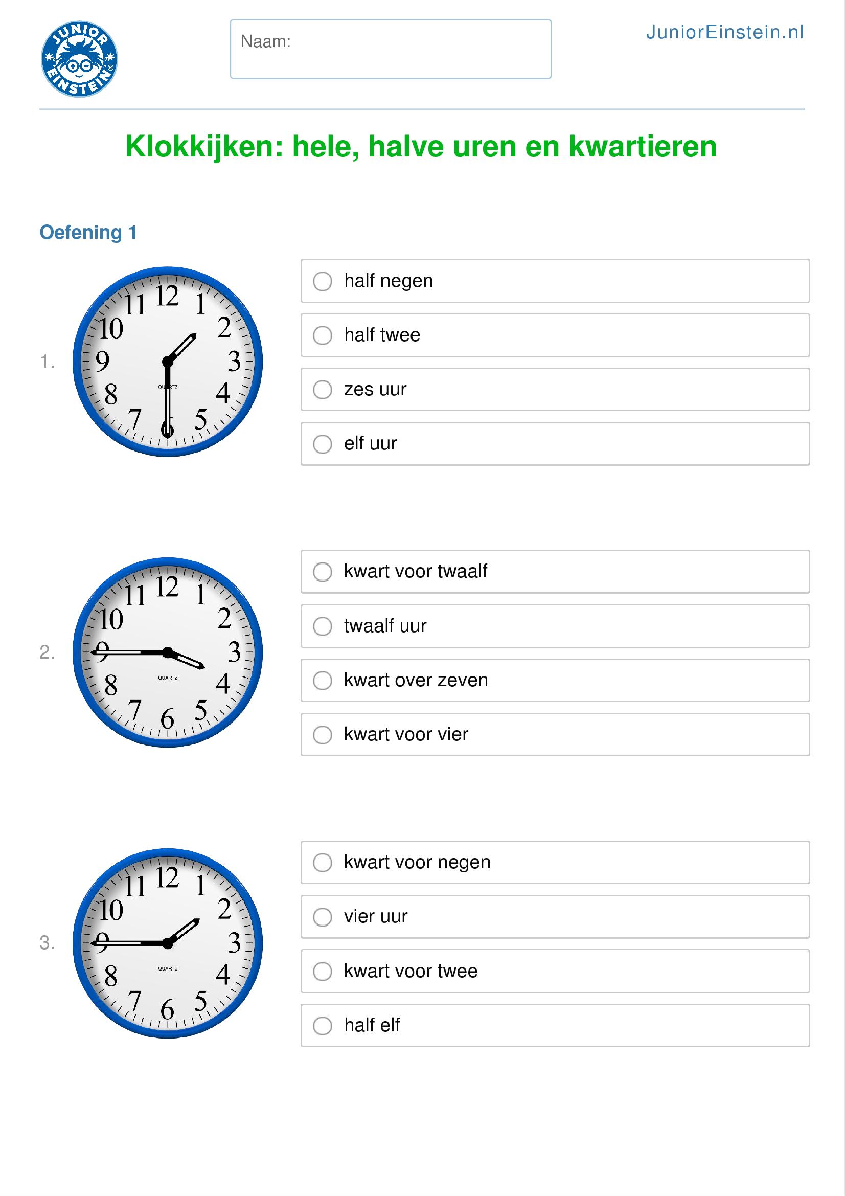 Populair Werkblad: Klokkijken: hele, halve uren en kwartieren (geschikt  IA64