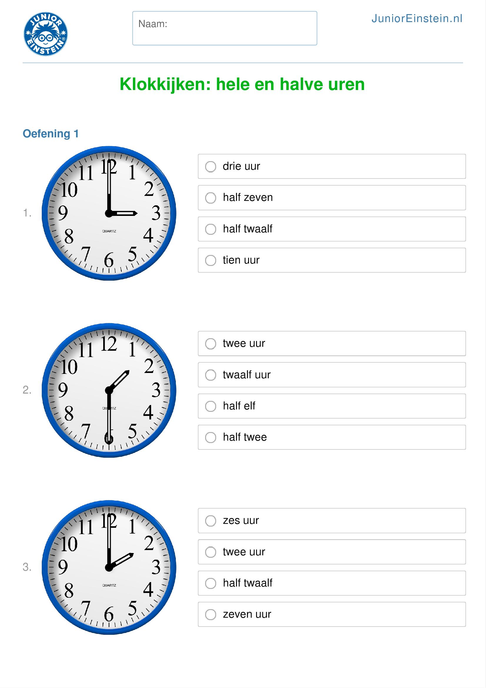 Extreem Werkblad: Klokkijken: hele en halve uren (geschikt voor groep 5) RM45