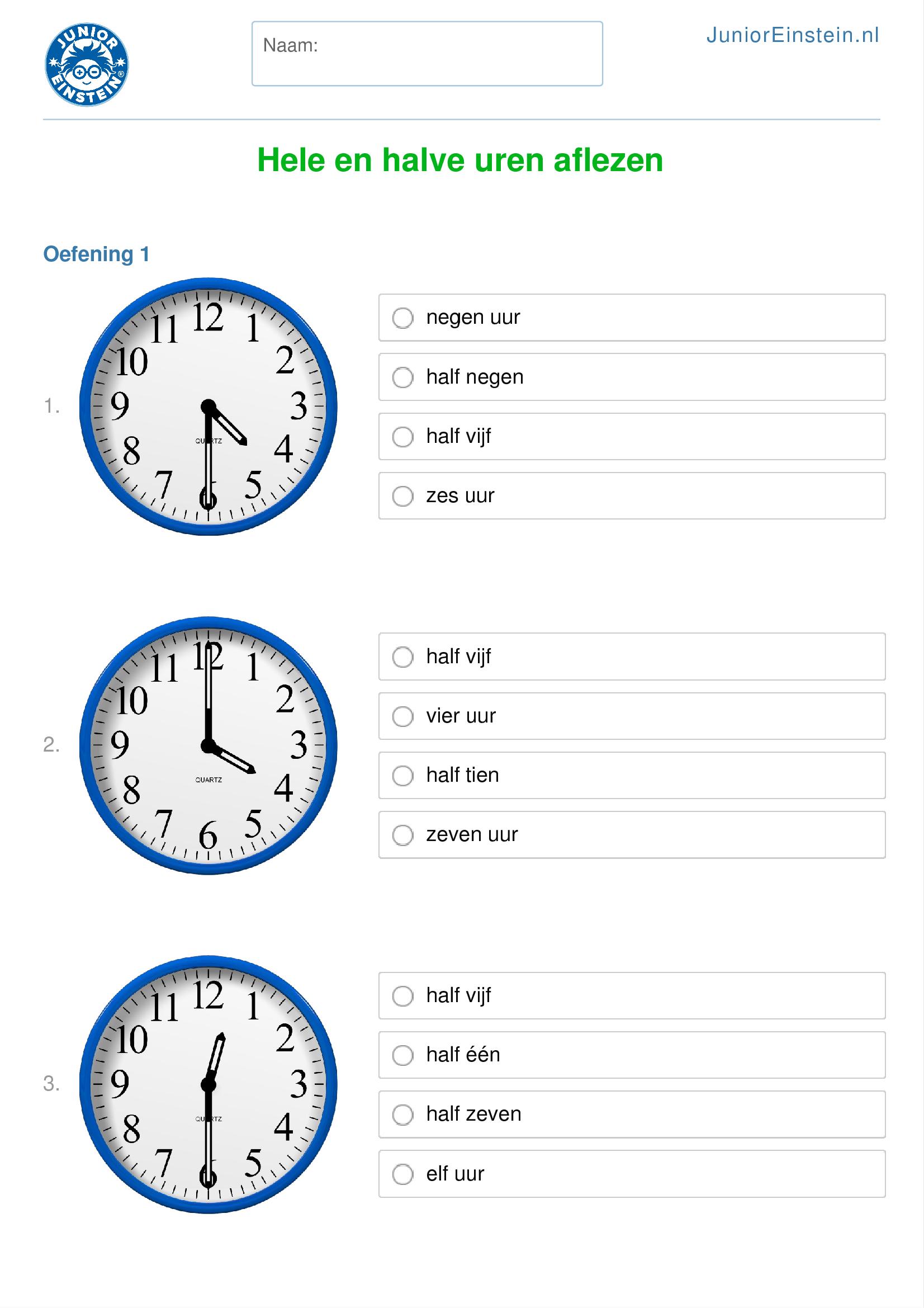 Zeer Werkblad: Hele en halve uren aflezen (geschikt voor groep 4) AD38
