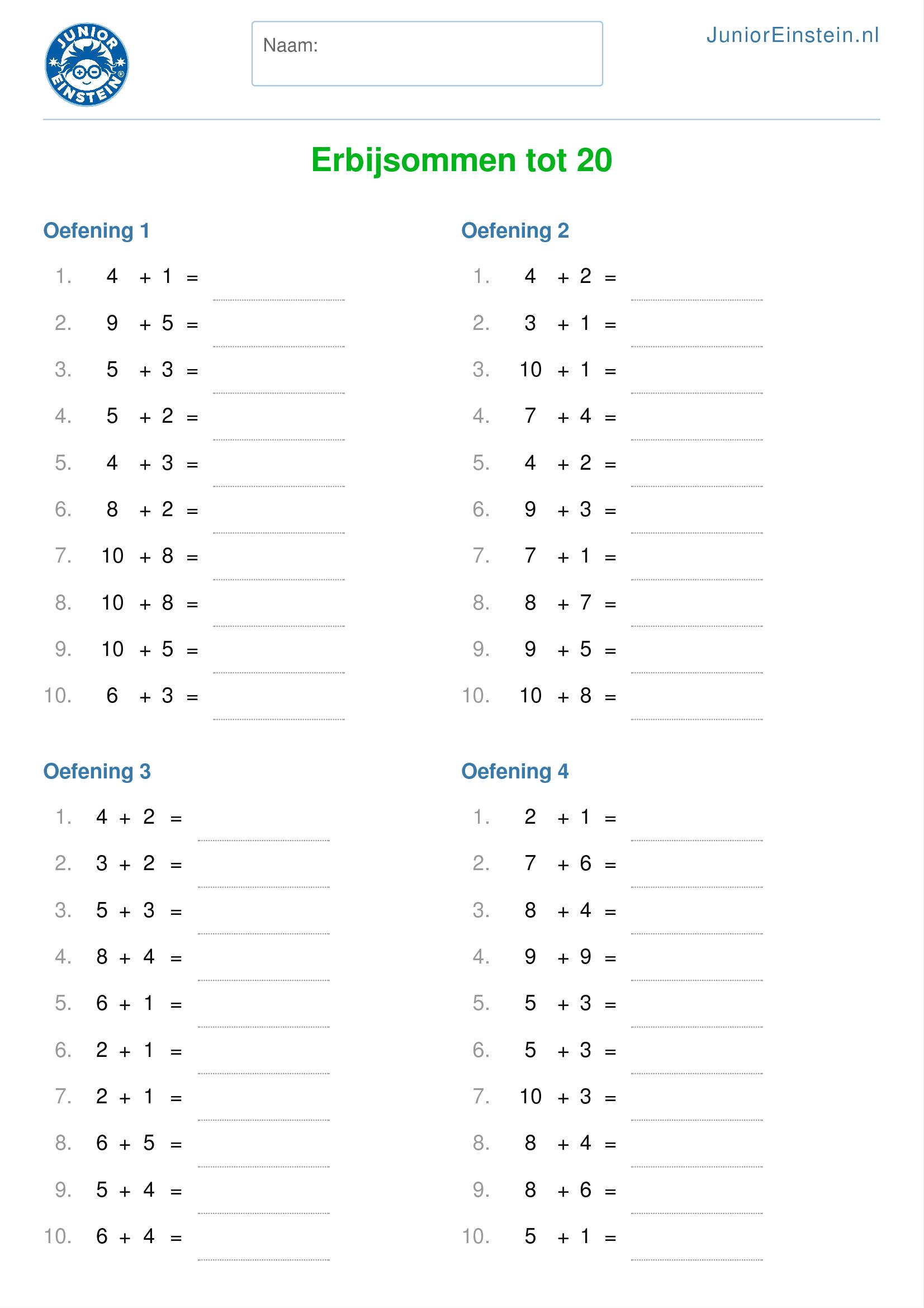 Verwonderlijk Werkblad: Erbijsommen tot 20 (geschikt voor groep 3) DR-45