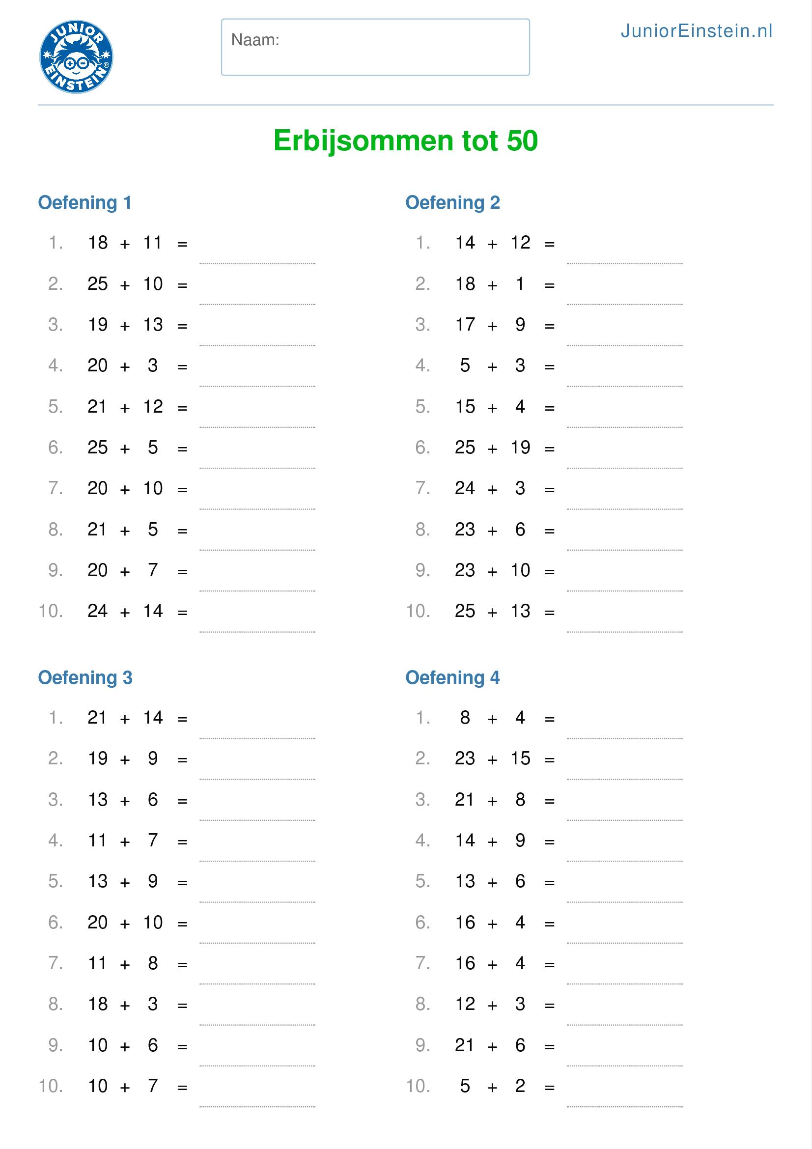 werkblad erbijsommen tot 20 geschikt voor groep 4