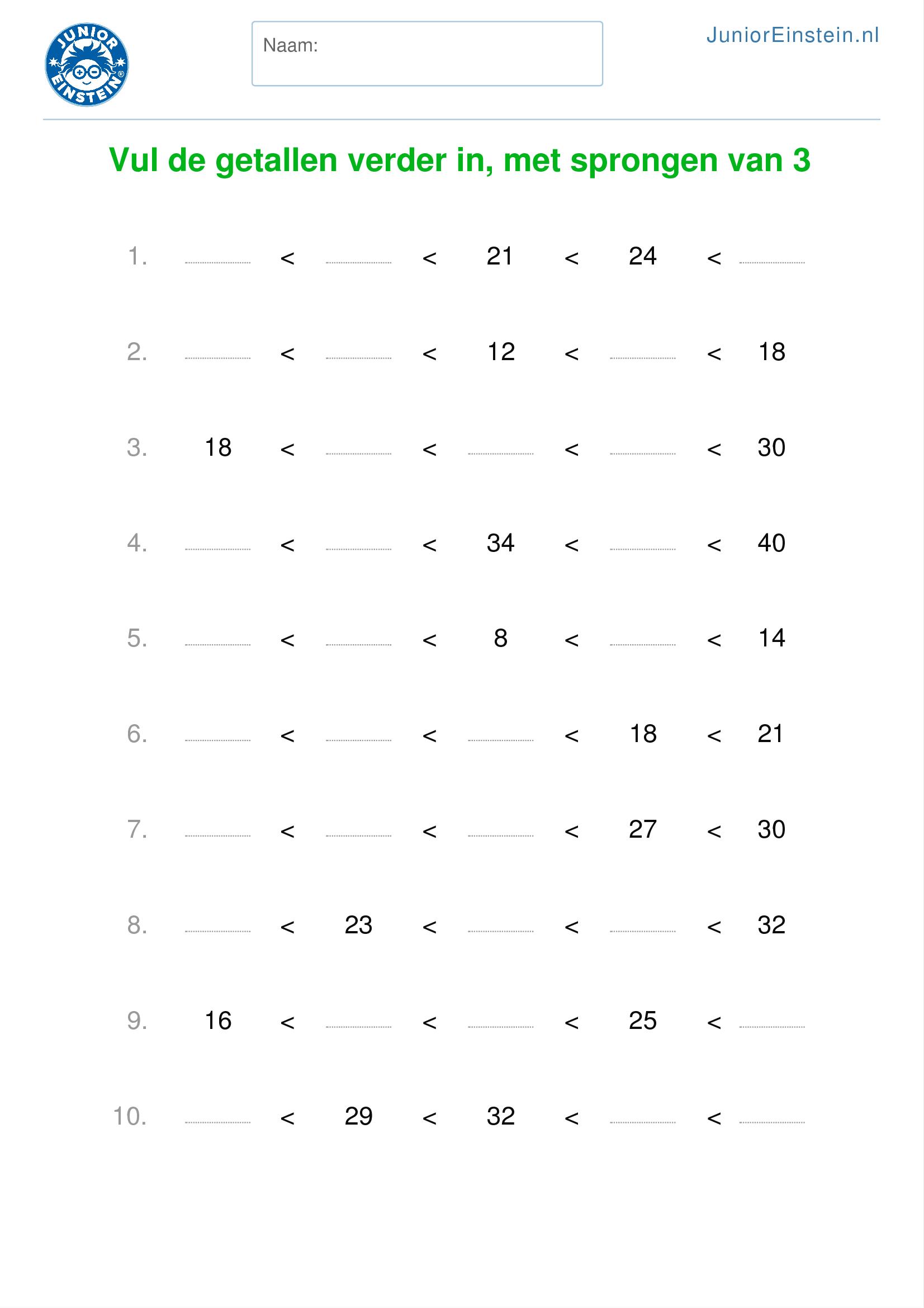 Spiksplinternieuw Werkblad: Vul de getallen verder in, met sprongen van 3 (geschikt EB-93