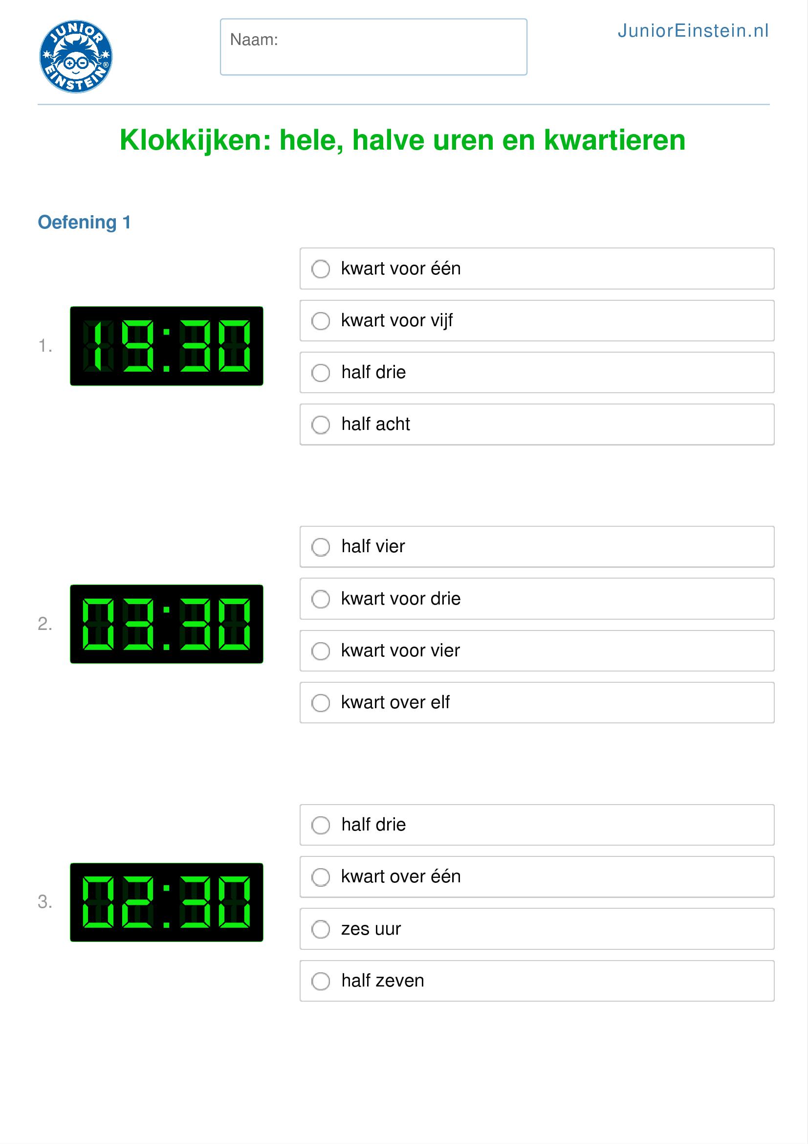 Genoeg Werkblad: Klokkijken: hele, halve uren en kwartieren (geschikt #YL25