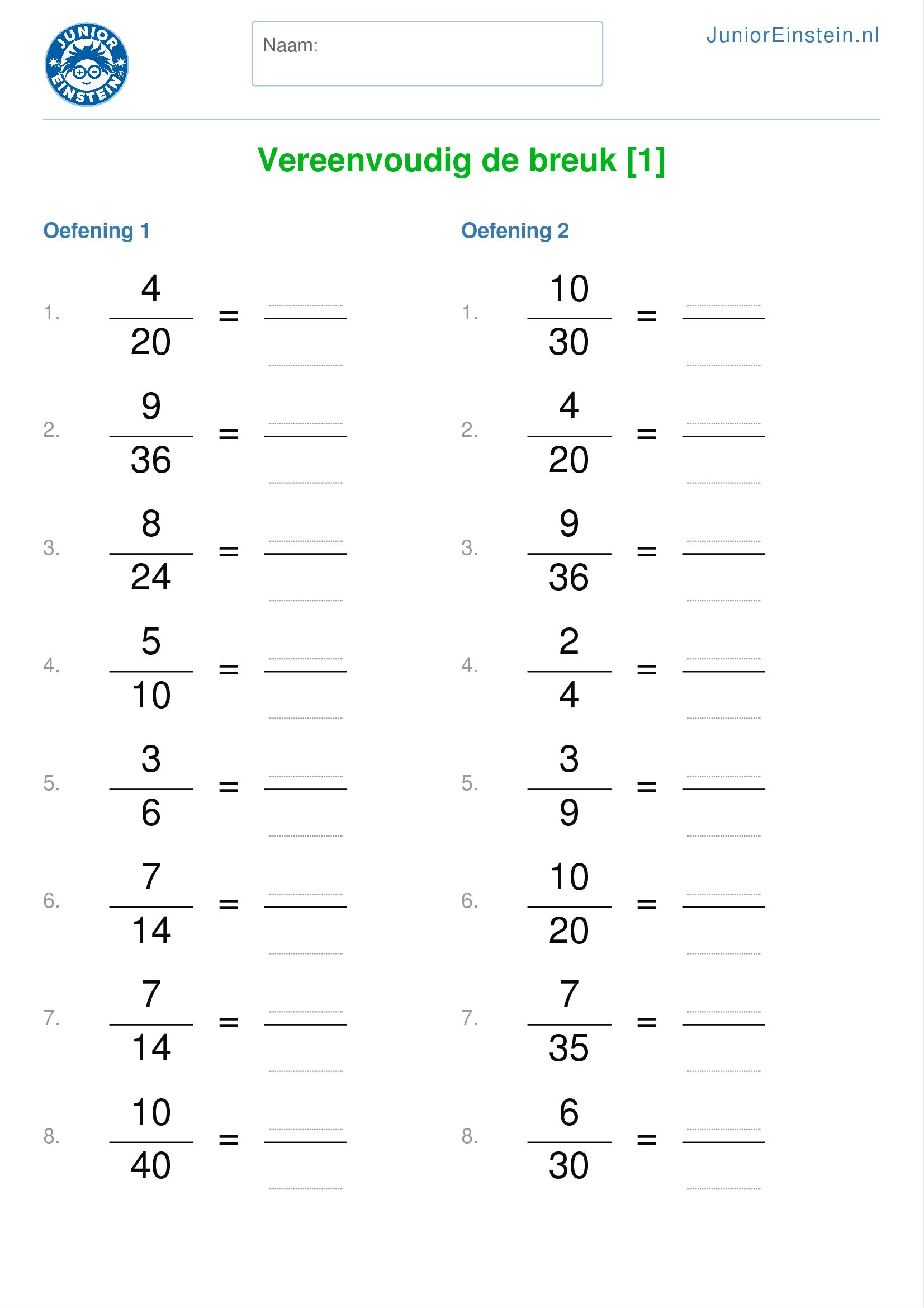 werkblad: vereenvoudig de breuk [4]