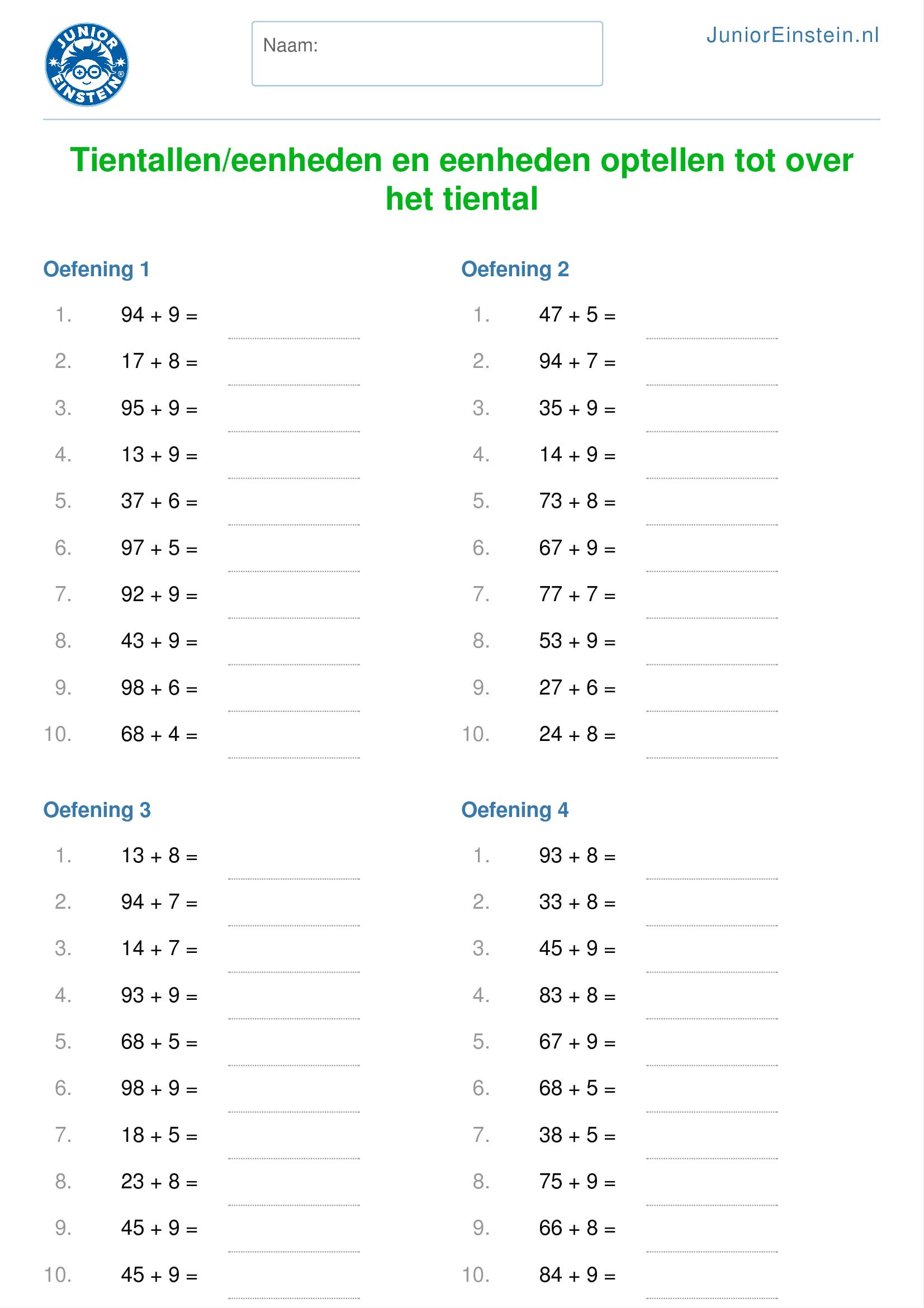 Hedendaags Rekenblad: Tientallen en eenheden optellen tot over het tiental PM-01