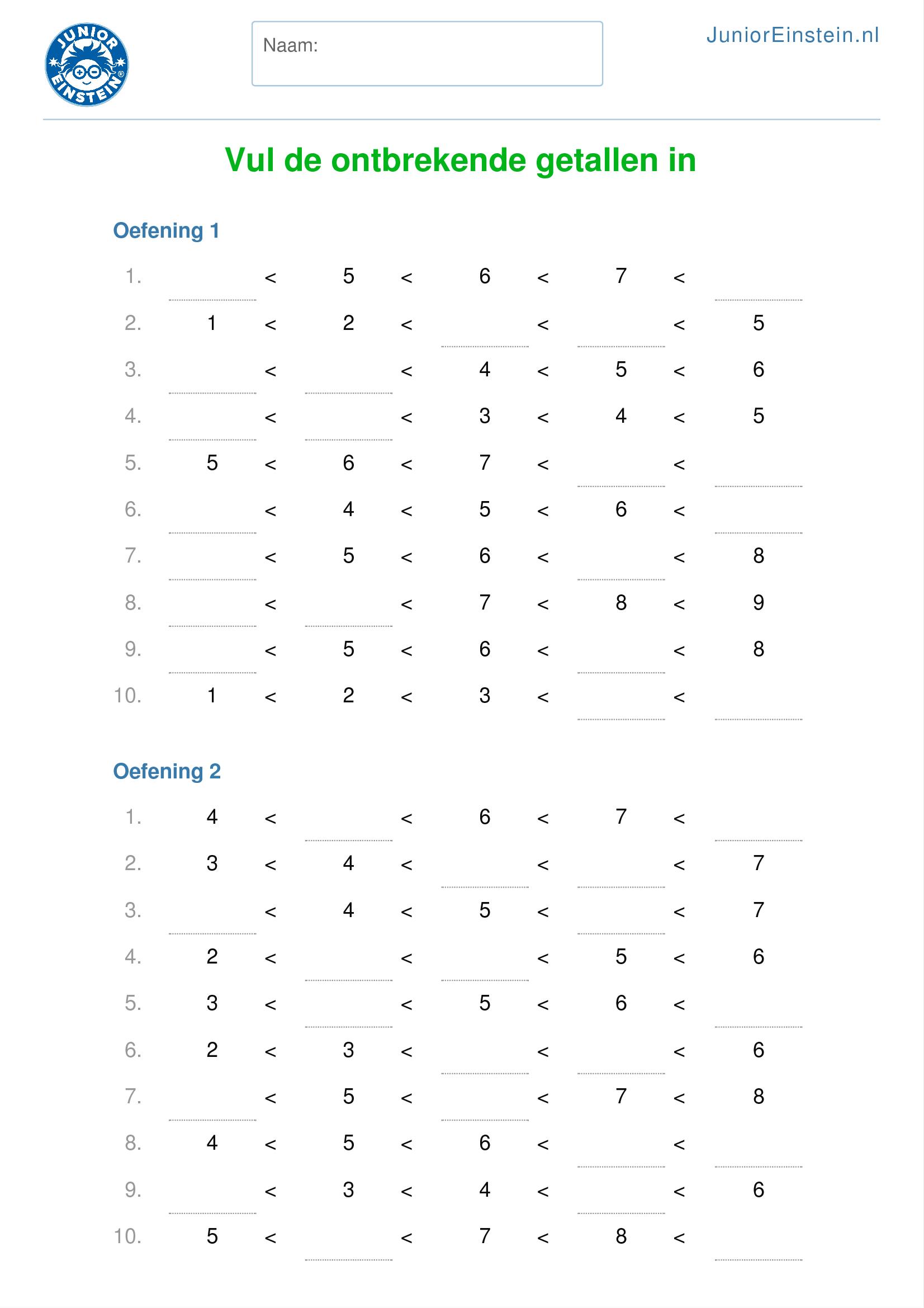 Top Werkblad: Vul de ontbrekende getallen in tot en met 10 @EC28