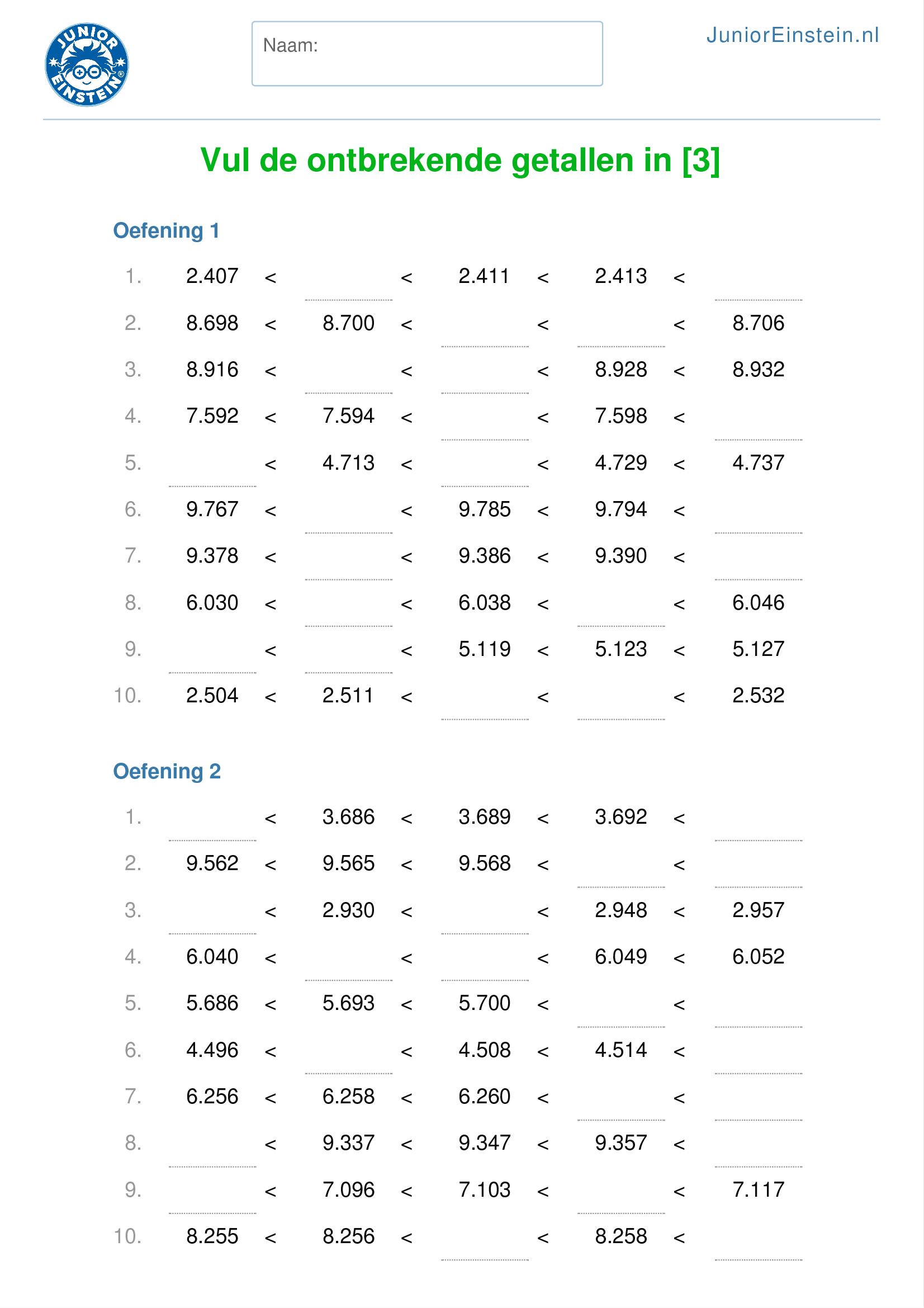 Super Werkblad: Vul de ontbrekende getallen in tot en met 10.000 [2] XP-58