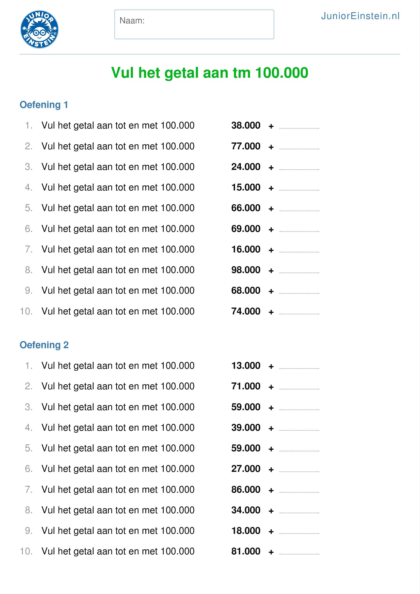 Ongekend Werkblad: Vul het getal aan tm 100.000 [2] RD-44