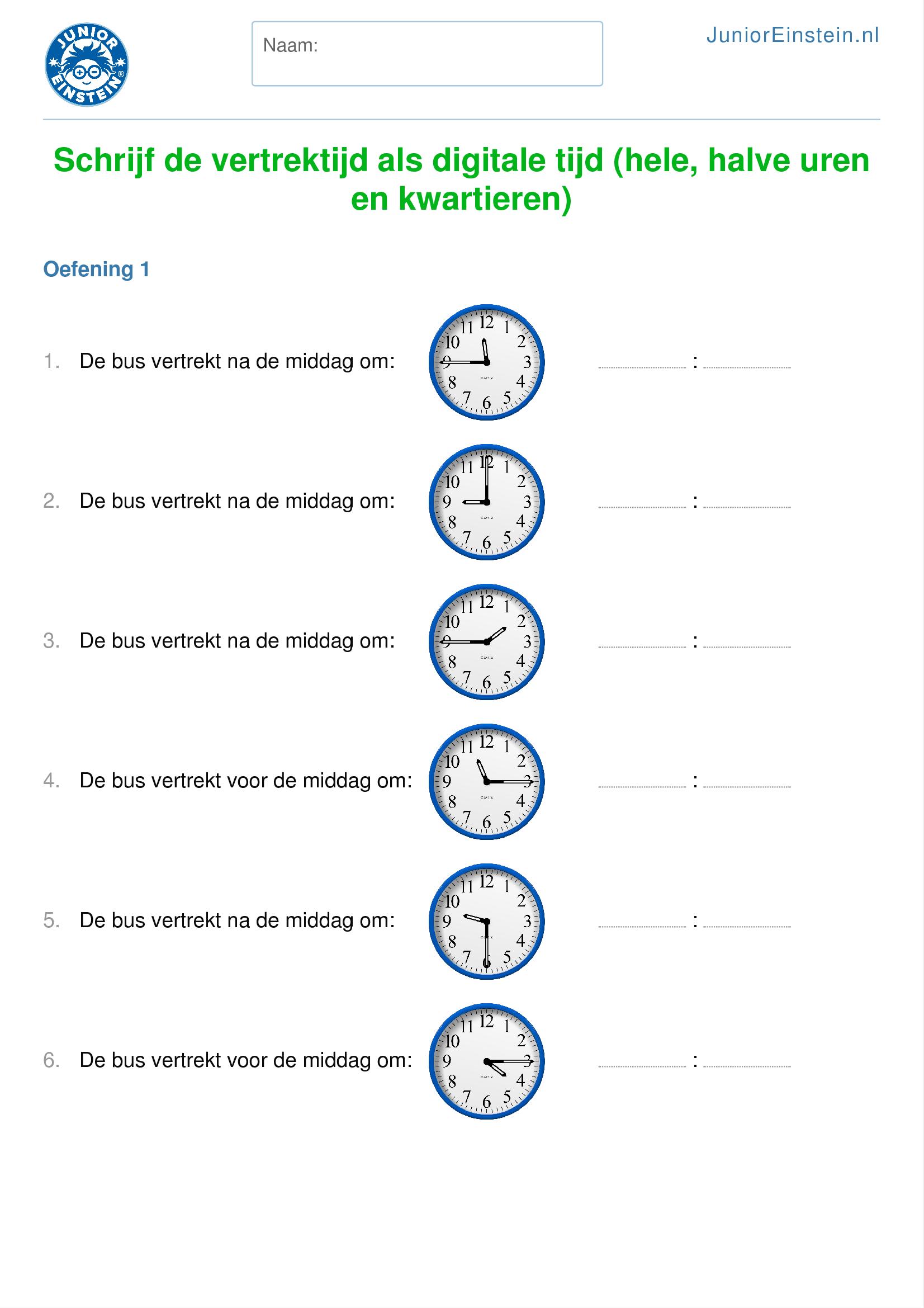 Magnifiek Oefenblad: Schrijf de vertrektijd als digitale tijd (hele, halve &HZ49
