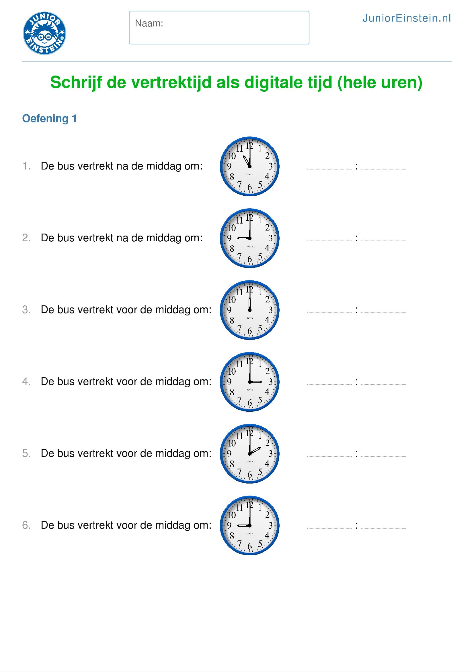 Verbazingwekkend Werkblad: Schrijf de vertrektijd als digitale tijd (hele uren) [2] QP-98