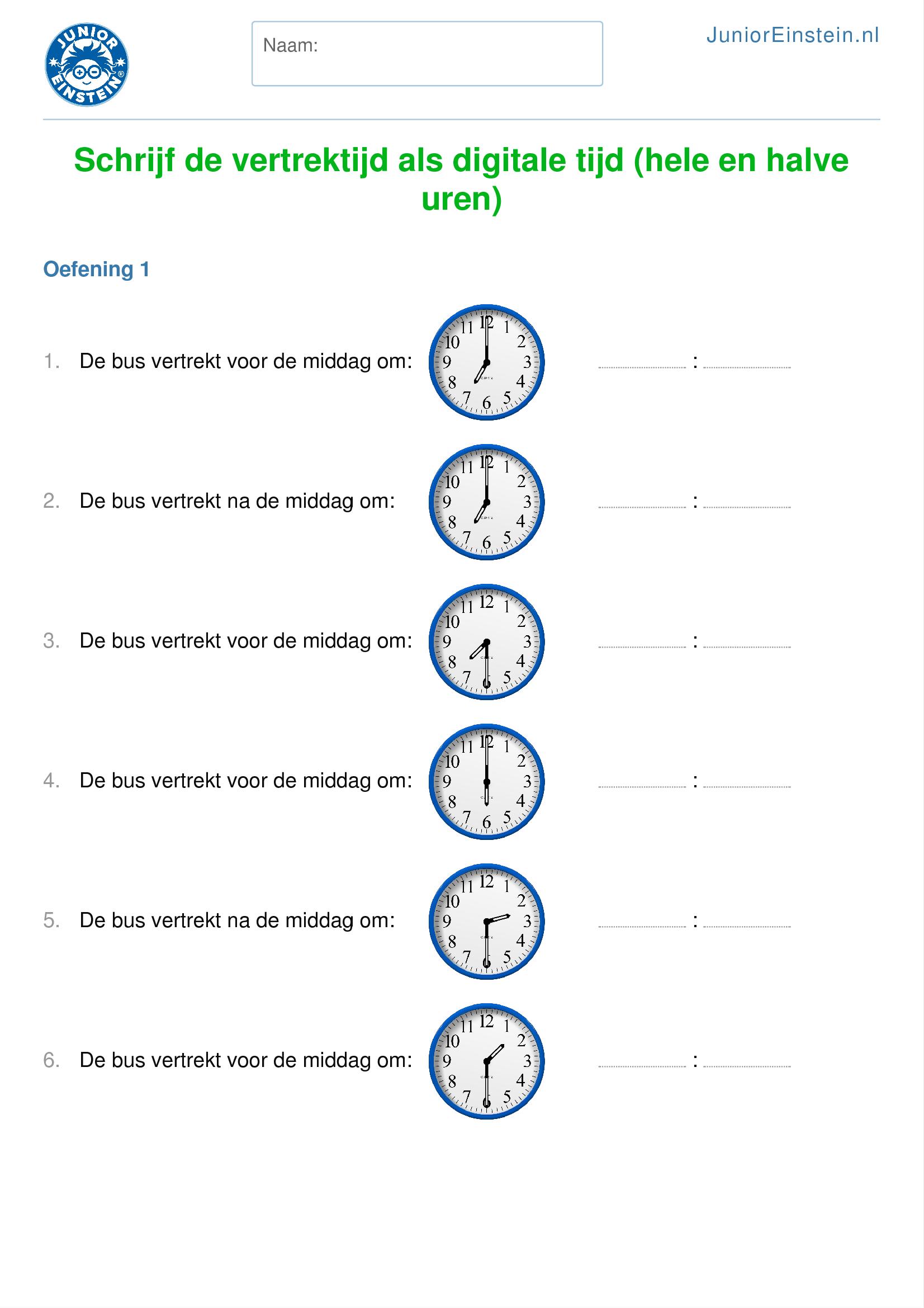 Uitzonderlijk Werkblad: Schrijf de vertrektijd als digitale tijd (hele en halve  TP77