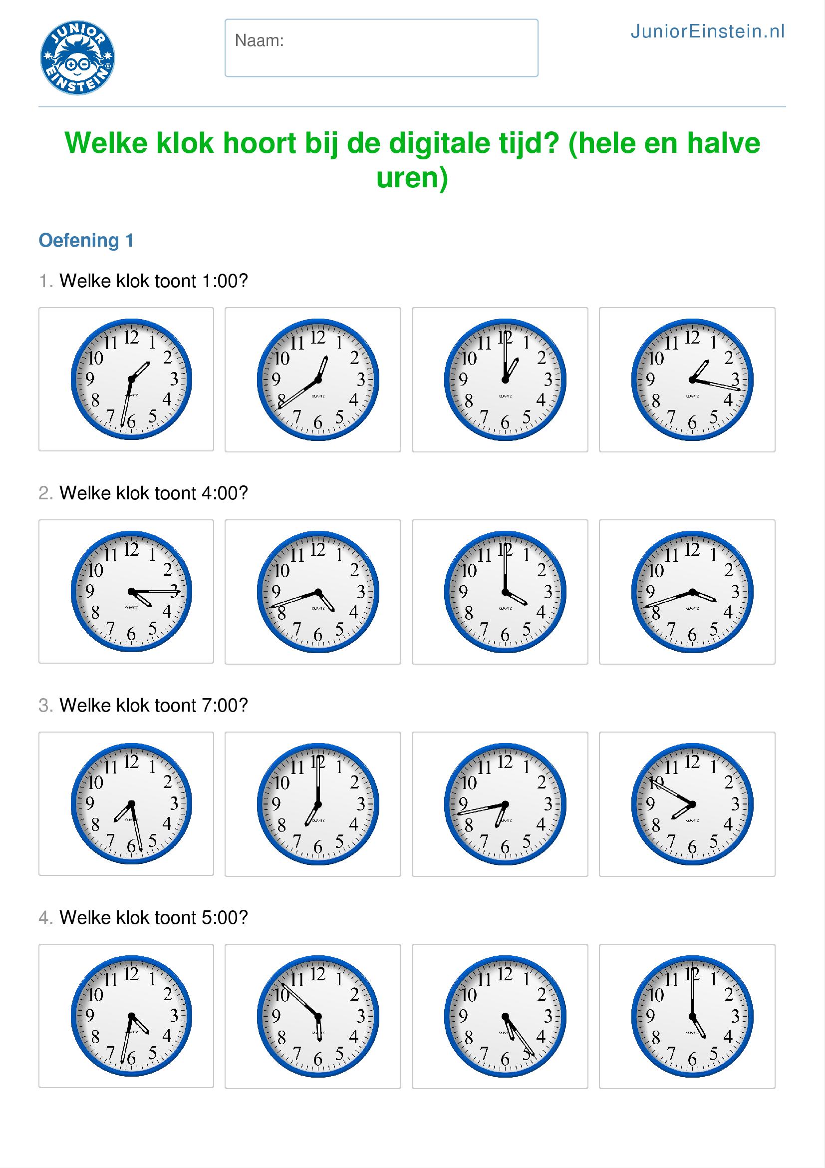 Uitzonderlijk Werkblad: Welke klok hoort bij de digitale tijd? (hele en halve  HA23