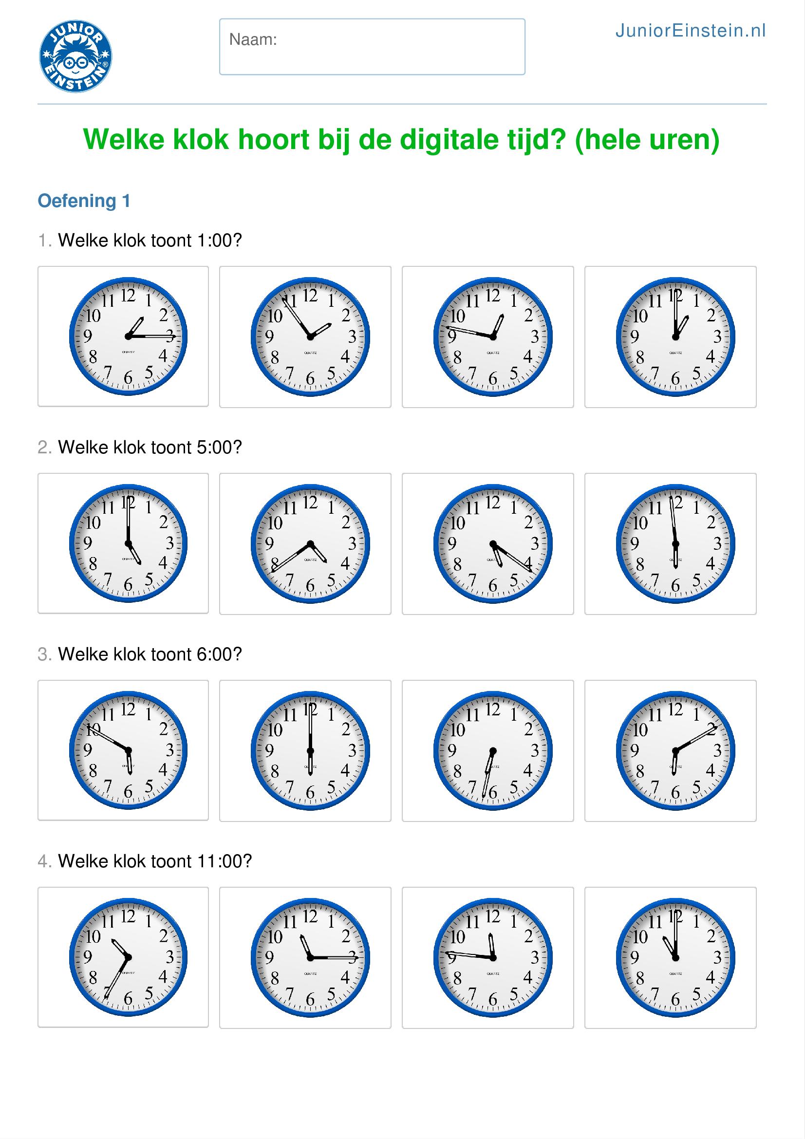 Super Werkblad: Welke klok hoort bij de digitale tijd? (hele uren) LE28