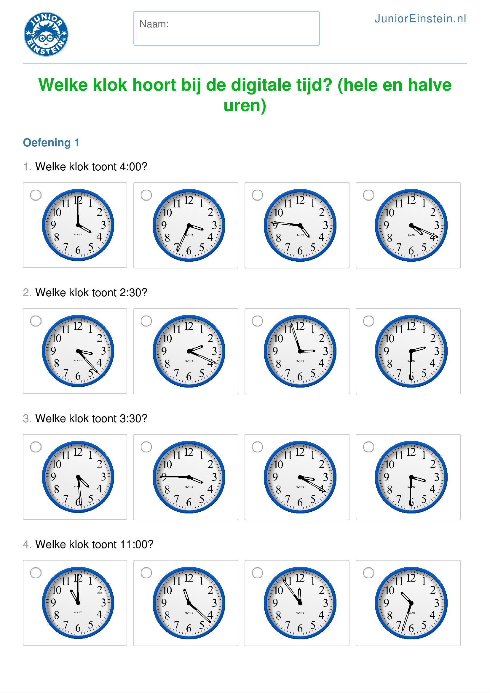 Fonkelnieuw Welke klok hoort bij de digitale tijd? (hele en halve uren) TW-77
