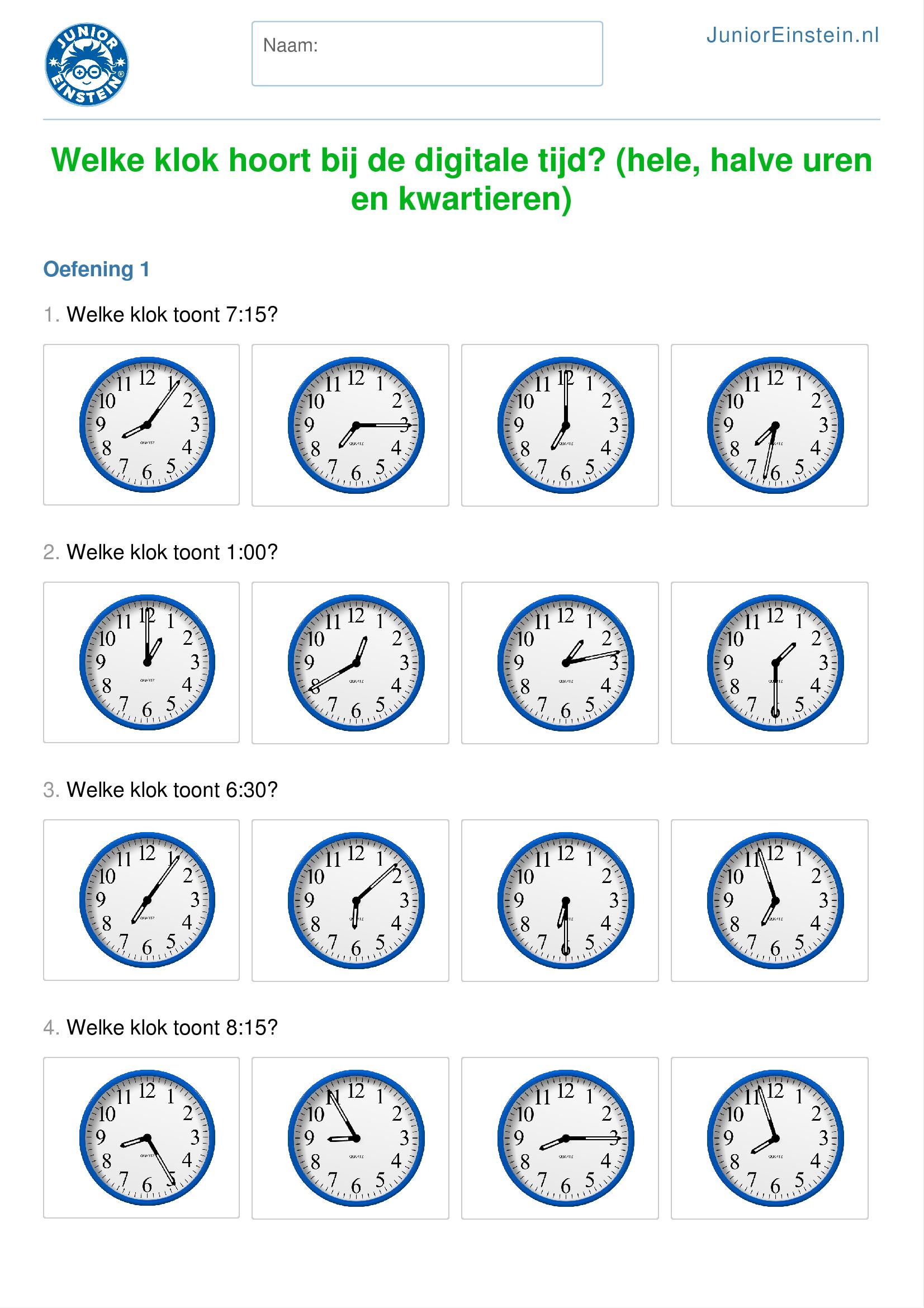 Verwonderlijk Welke klok hoort bij de digitale tijd? (hele, halve uren en IW-09